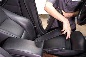 Vacuuming leather interior